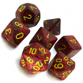 Red & Black 'Mercury' Speckled Polyhedral 7 Dice Set